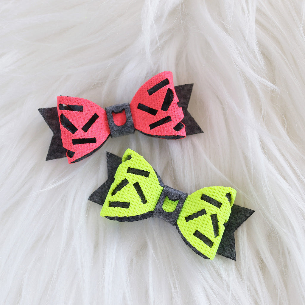 Donut Hair Bow - Pink and Yellow Neon & Dark Grey (2-pack)