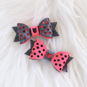Polka Dots Hair Bow - Dark Grey & Pink (2-pack)