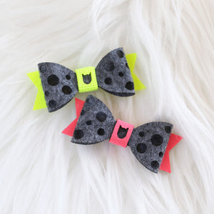 Swiss Cheese Hair Bow - Dark Grey & Neon Pink and Yellow (2-pack)