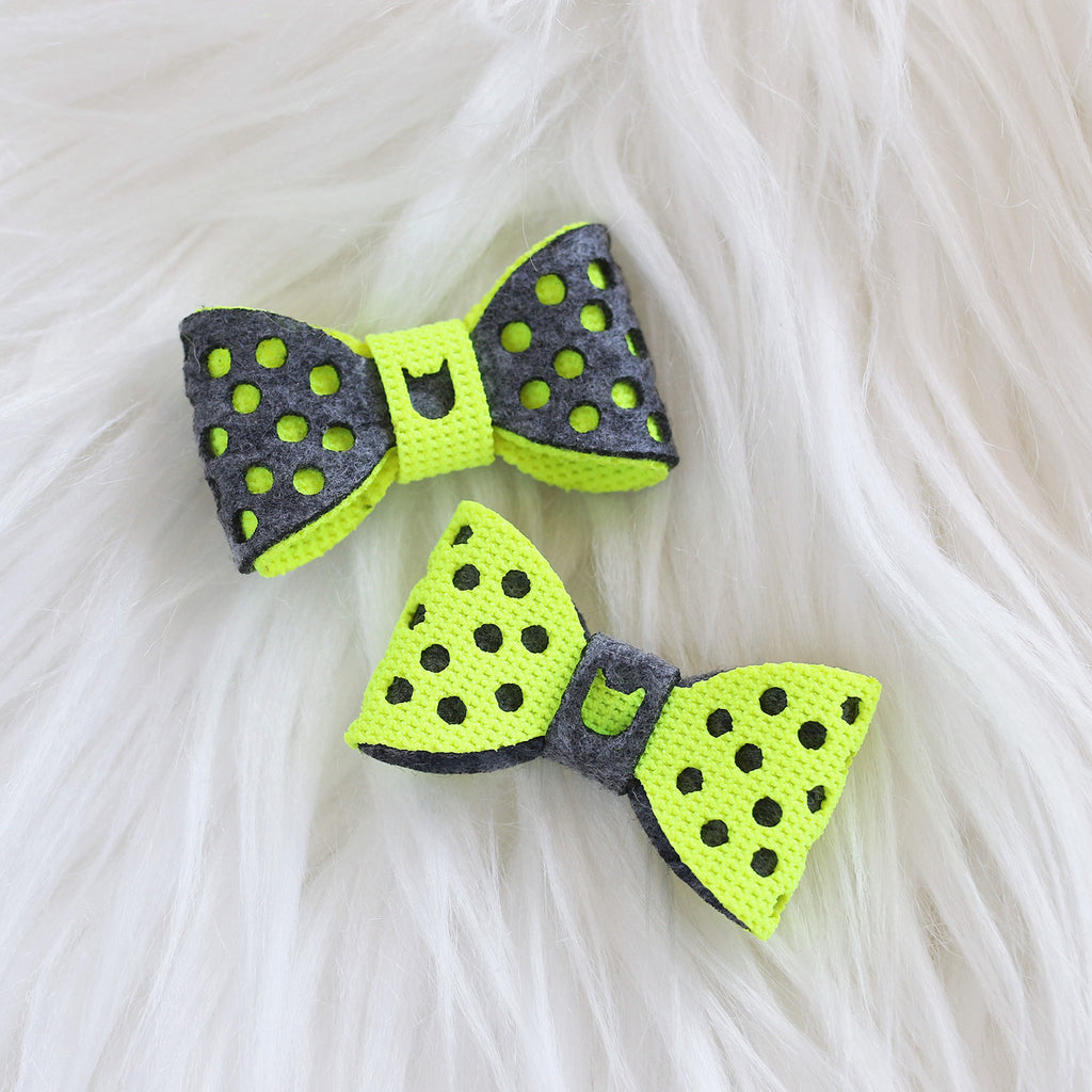 Polka Dots Hair Bow - Dark Grey & Neon Yellow (2-pack)