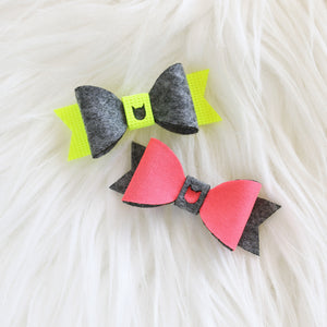 Plain Hair Bow - Neon & Dark Grey (2-pack)