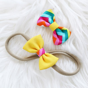 Fabric Hair Bow Duo - Zigzag Colour Blocks (2-pack)