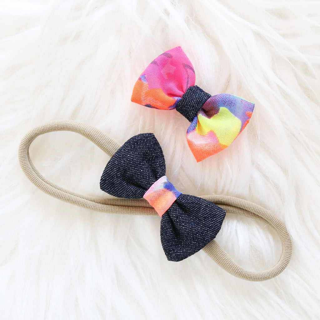 Fabric Hair Bow Duo - Denim Rainbow Burst (2-pack)
