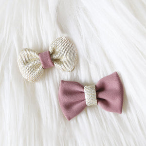 Fabric Hair Bow Duo - Rose & Gold (2-pack)
