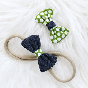 Fabric Hair Bow Duo - Indigo Polka Party (2-pack)