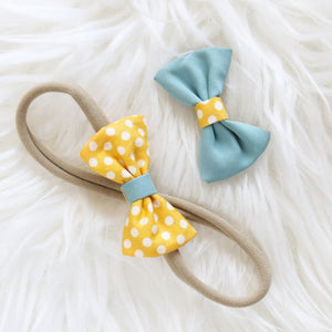 Fabric Hair Bow Duo - Sunrise Polka Party (2-pack)