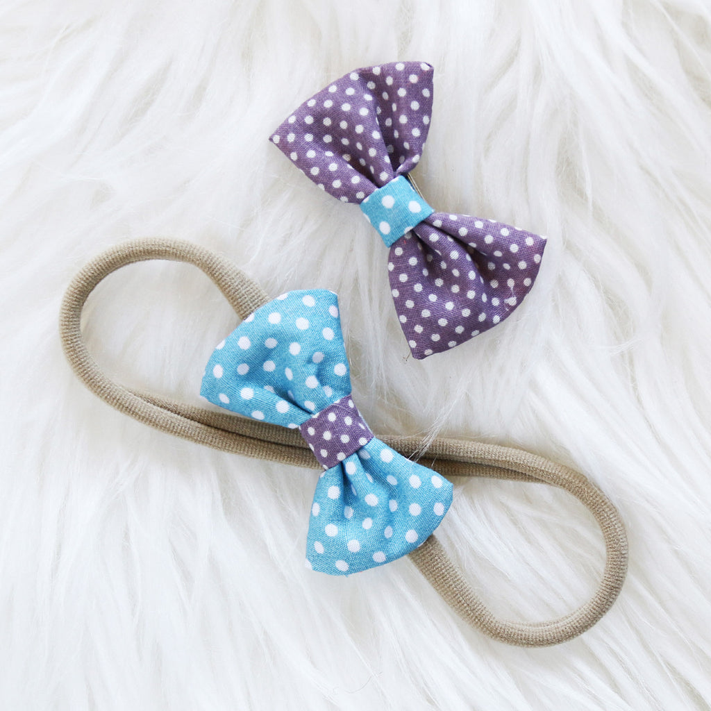 Fabric Hair Bow Duo - Sunset Polka Party (2-pack)