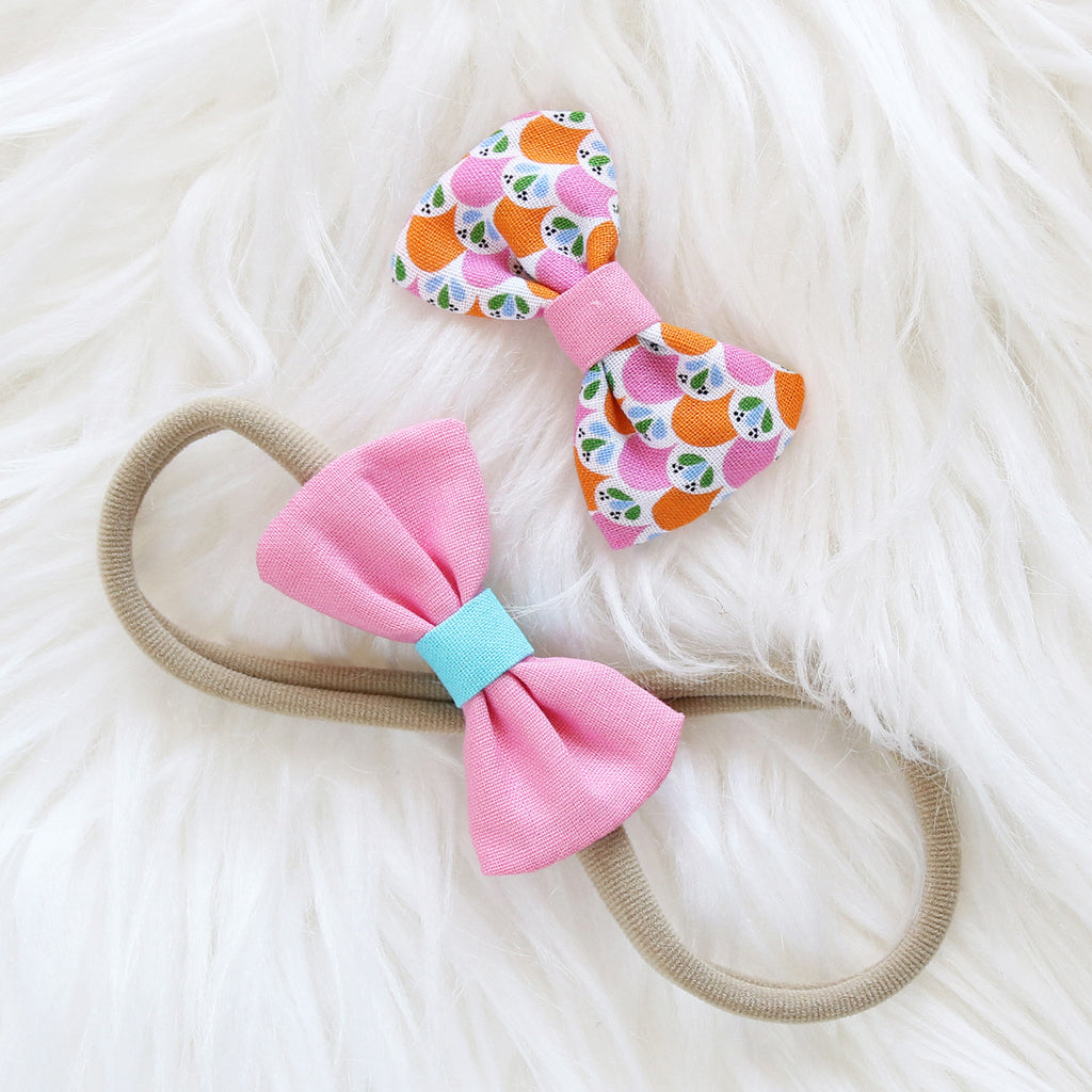 Fabric Hair Bow Duo - Candy Lovers (2-pack)