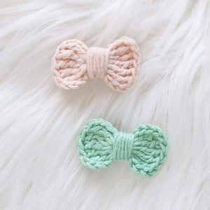 Mini Crochet Bows Duo Clip (2-pack)