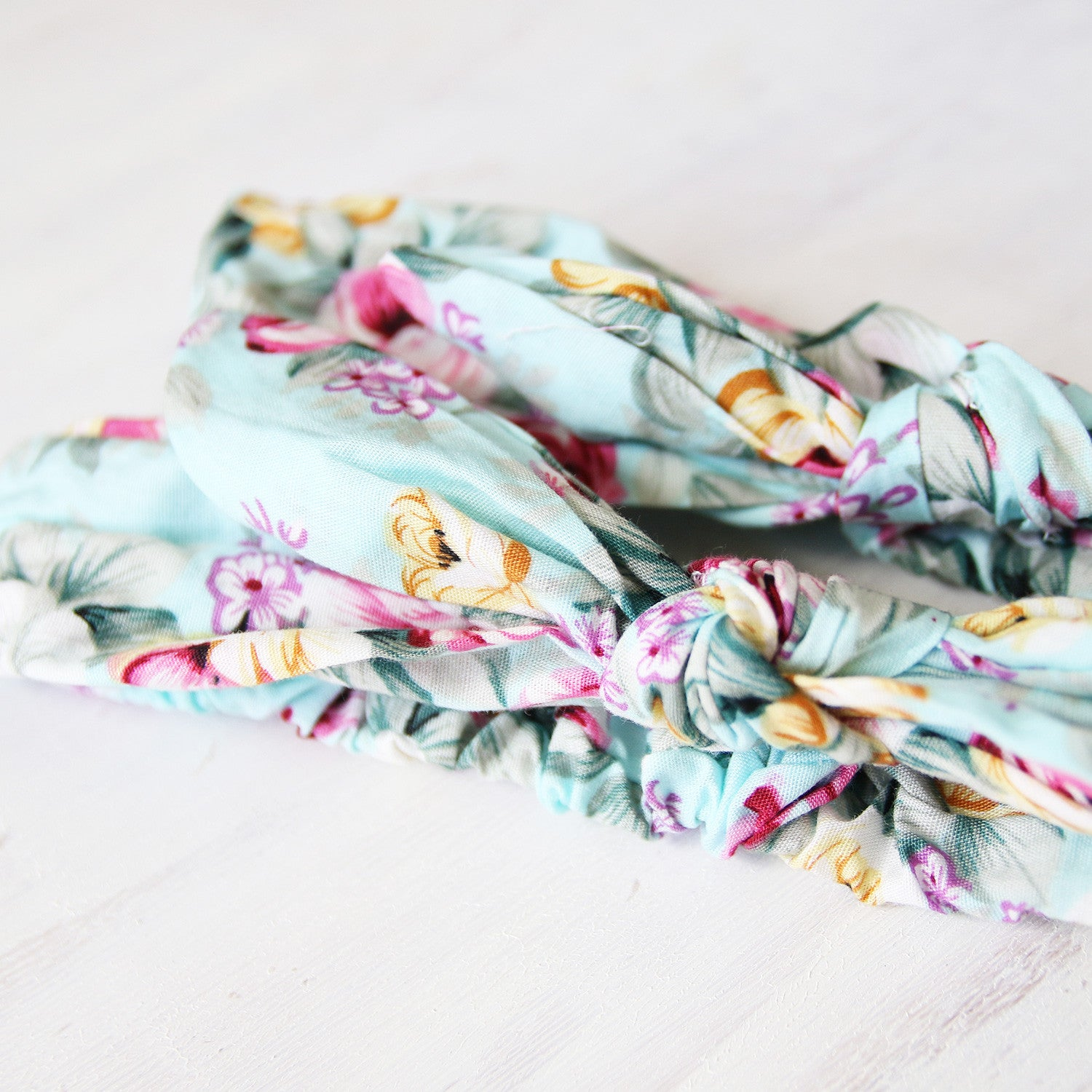 Mum & Daughter Twinsies — Turquoise & Yellow Floral Fabric Headbands (2-pack)