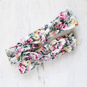 Mum & Daughter Twinsies — White & Dark Floral Fabric Headbands (2-pack)