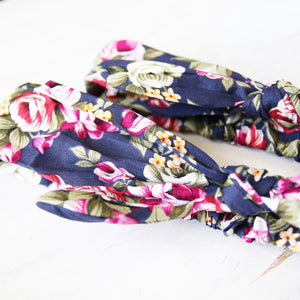 Mum & Daughter Twinsies — Vintage Navy & Floral Fabric Headbands (2-pack)