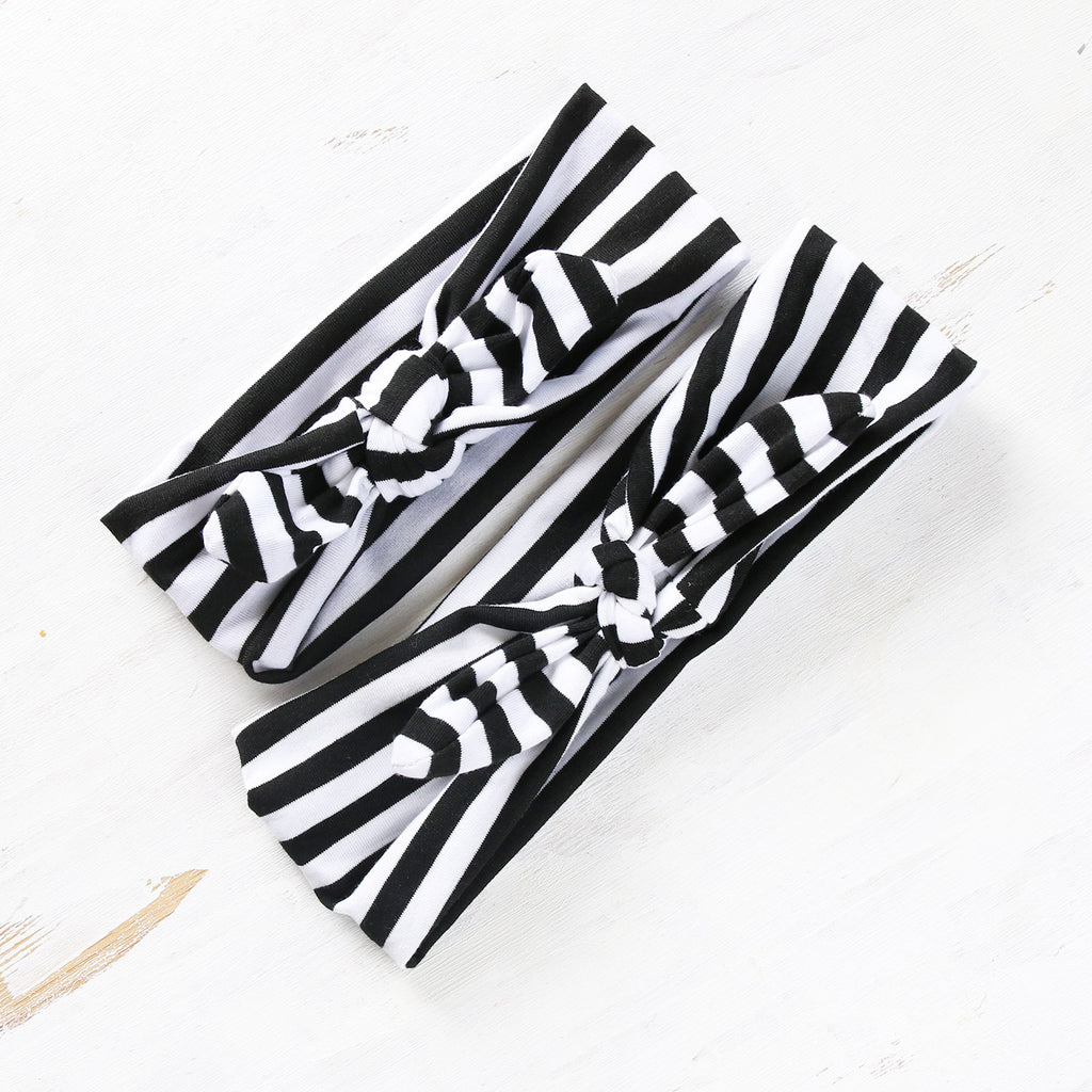 Mum & Daughter Twinsies - Black Striped Headbands (2-pack)