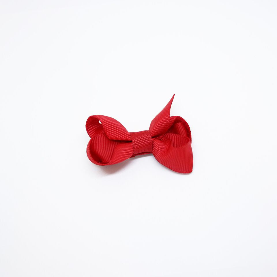 Mini Grosgrain — Red / Single Clip
