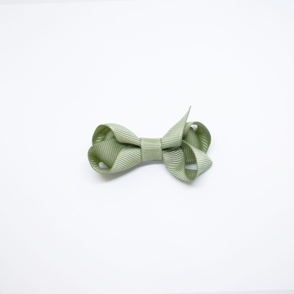 Mini Grosgrain — Olive / Single Clip