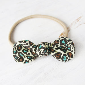 Yellow Leopard Print Knot Bow Headband - Single Pack