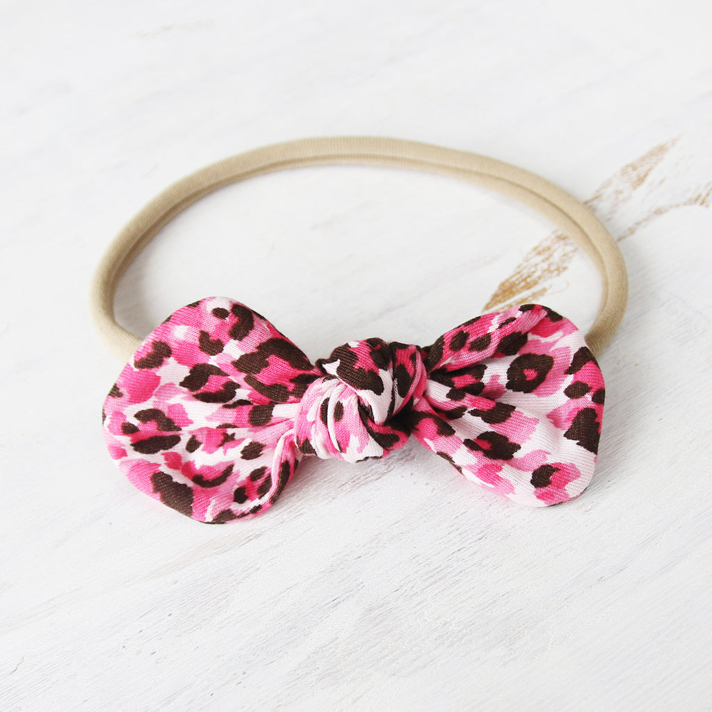 Pink Leopard Print Knot Bow Headband - Single Pack