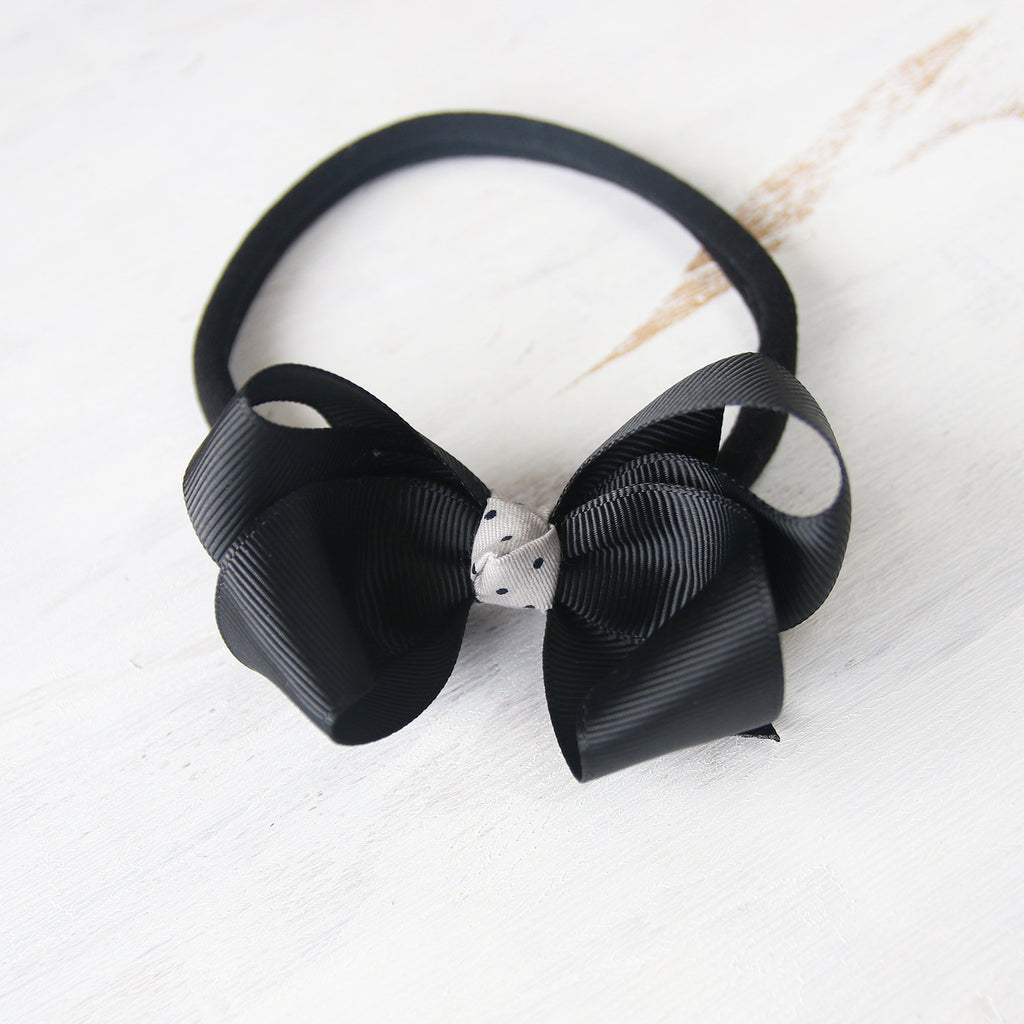 Black Grosgrain Bow with Clip or Headband (Single)
