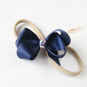 Navy Grosgrain Bow with Clip or Headband (Single)