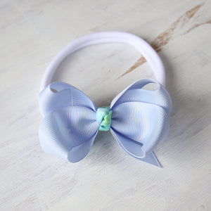 Blue Bell Grosgrain Bow with Clip or Headband (Single)