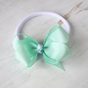 Pastel Green Grosgrain Bow with Clip or Headband (Single)