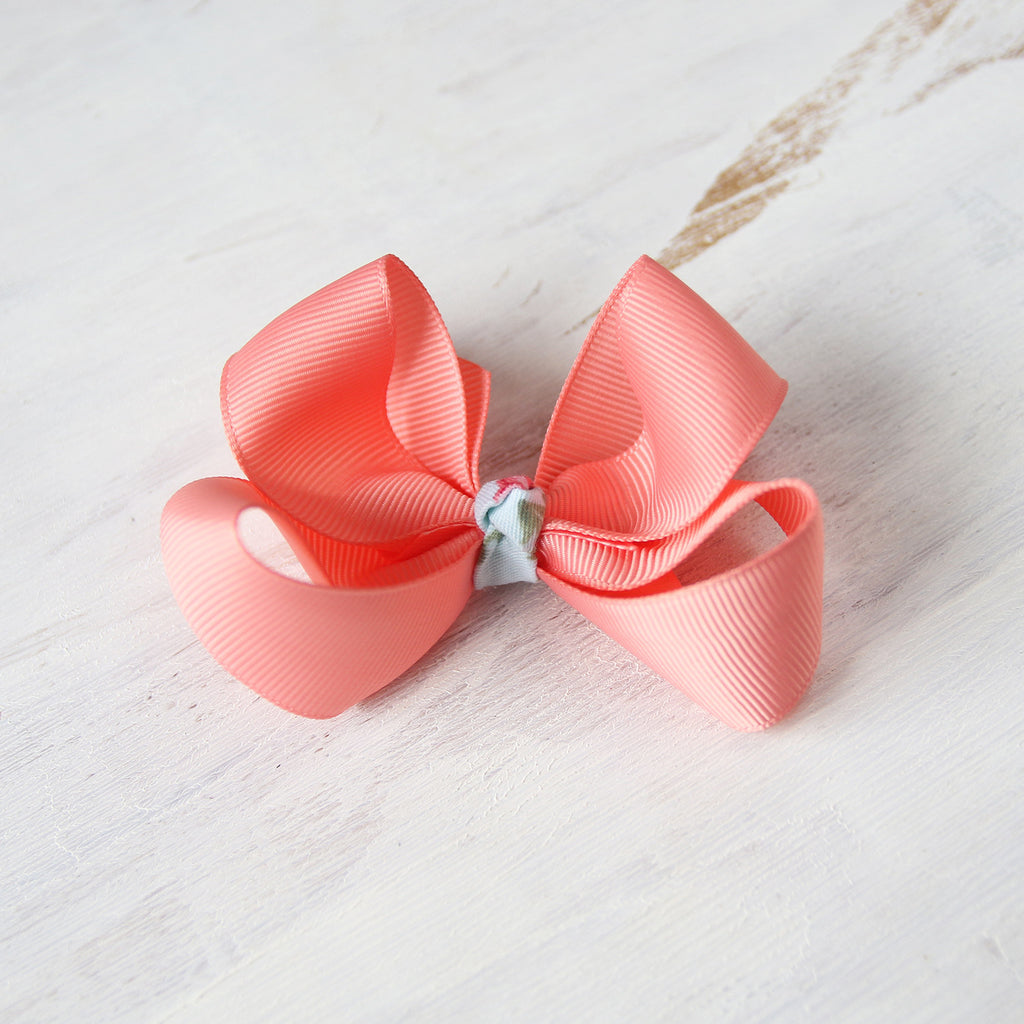 Coral Pink Grosgrain Bow with Clip or Headband (Single)