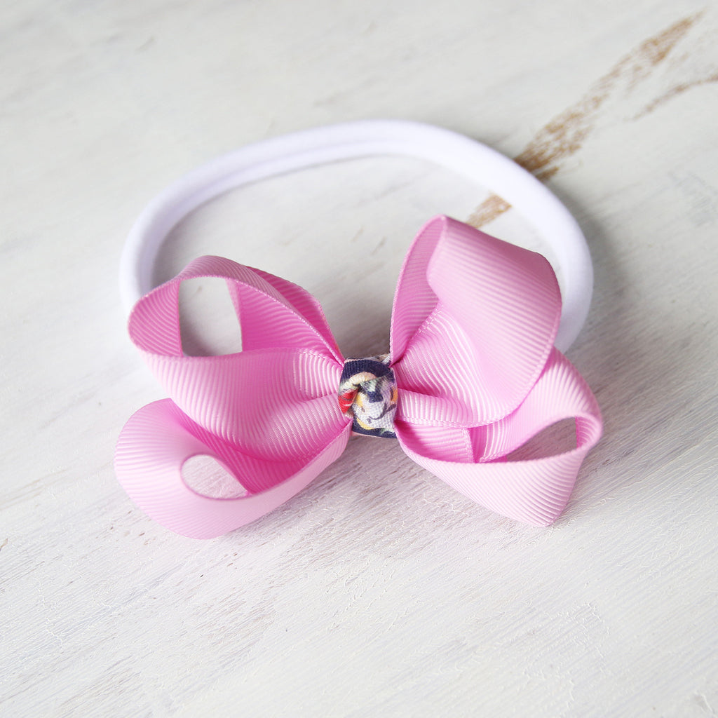 Tulip Pink Grosgrain Bow with Clip or Headband (Single)