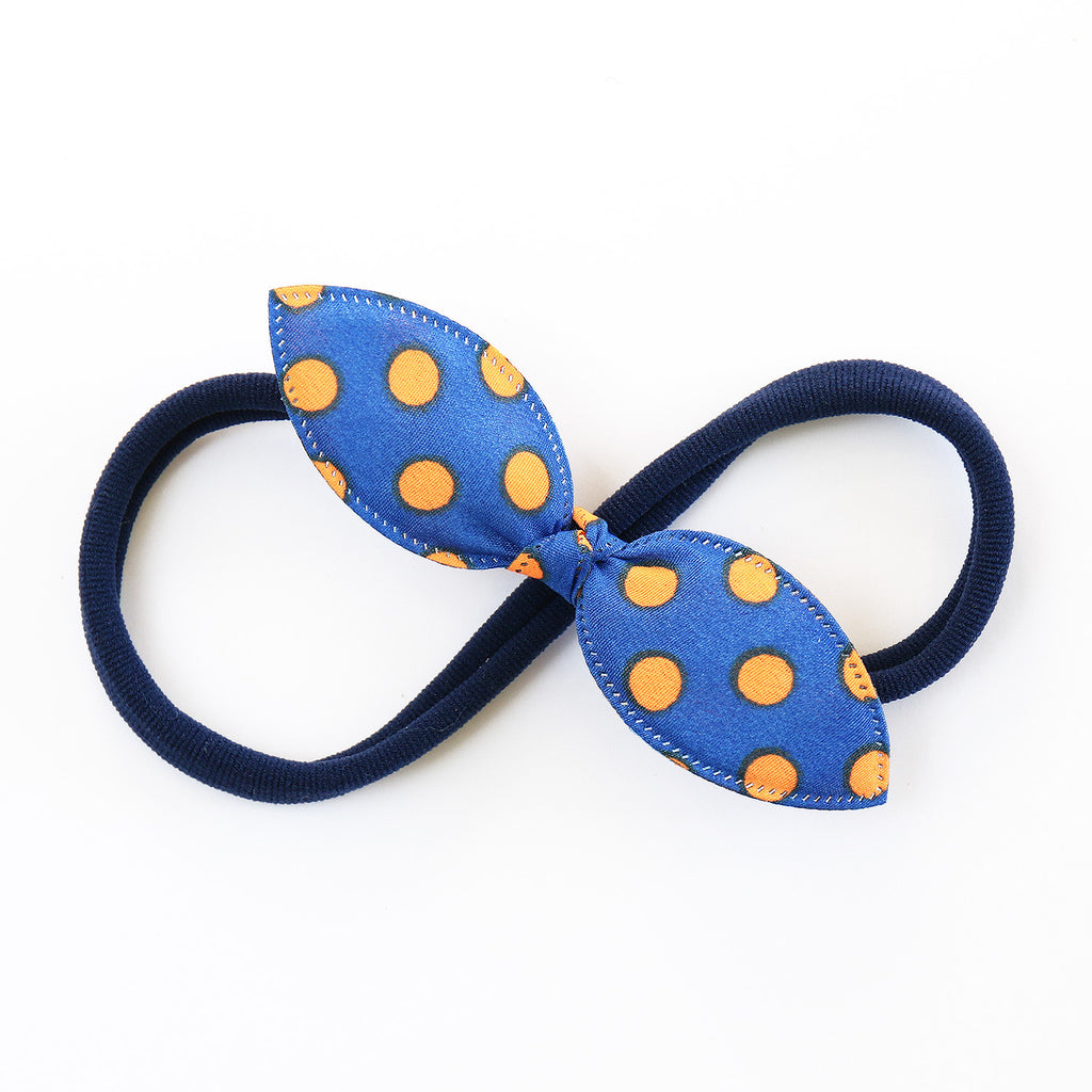 Blue and orange Polka Rabbit Ear Knot with Navy Headband - Single Pack