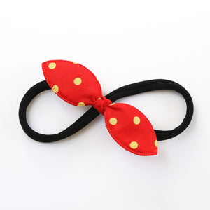 Red Polka Rabbit Ear Knot with Black Headband - Single Pack