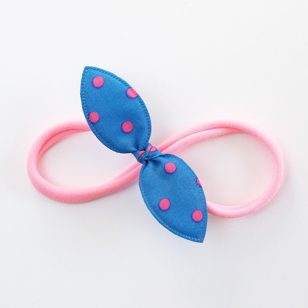 Blue and Neon Pink Polka Rabbit Ear Knot with Pink Headband - Single Pack