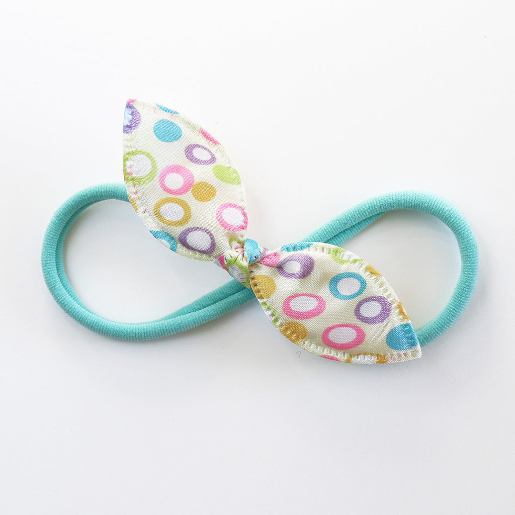Off-white and Candy Circles Rabbit Ear Knot with Aqua Green Headband - Single Pack