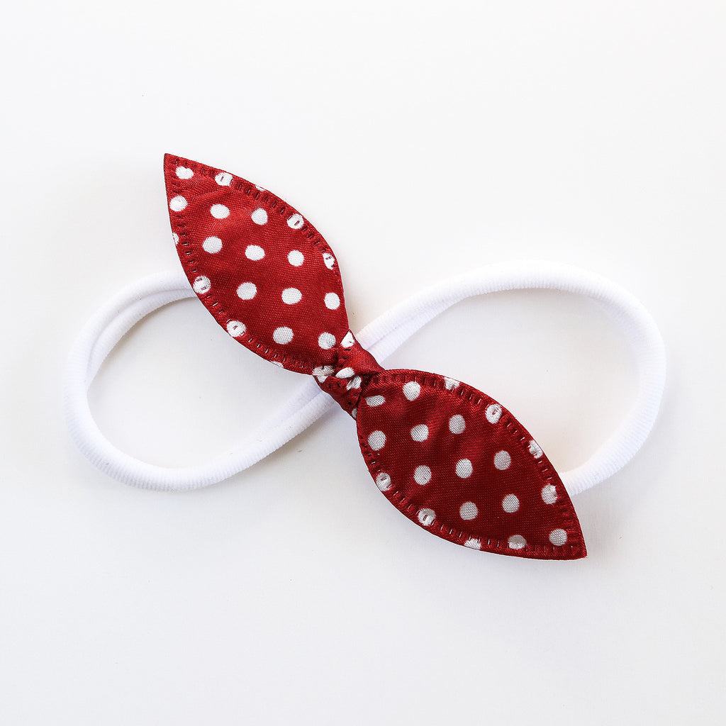 Red and White Polka Rabbit Ear Knot with Navy Headband - Single Pack