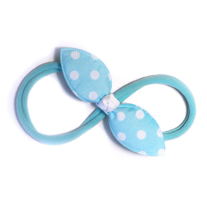 Cotton Candy Blue Polka Rabbit Ear Knot with Aqua Blue Headband - Single Pack