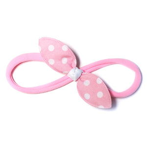 Cotton Candy Pink Polka Rabbit Ear Knot with Pink Headband - Single Pack