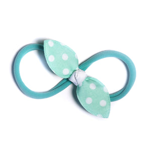 Cotton Candy Aqua Green Polka Rabbit Ear Knot with Aqua Green Headband - Single Pack