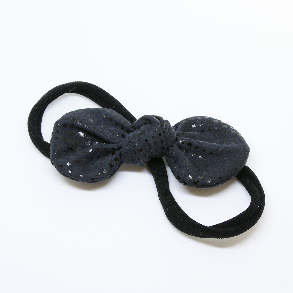 Black Sparkles TopKnot Bow with Black Headband - Single Pack