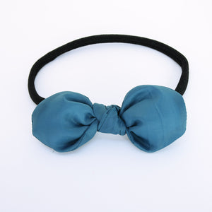 Teal Fluffy Knot Bow with Black Headband - Single Pack