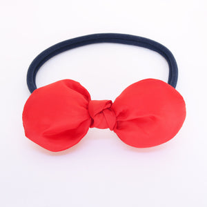 Scarlet Red Fluffy Knot Bow with Navy Headband - Single Pack