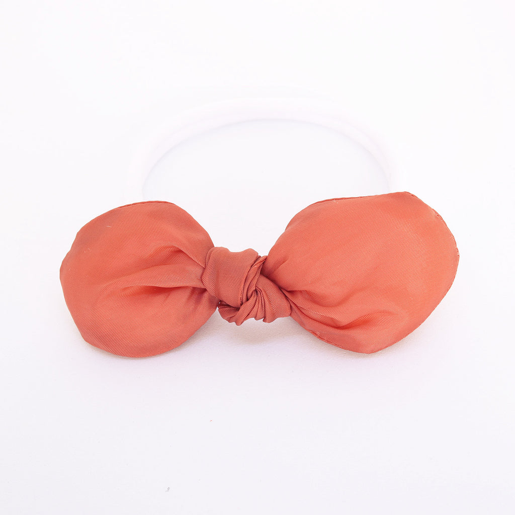 Warn Nude Fluffy Knot Bow with White Headband - Single Pack