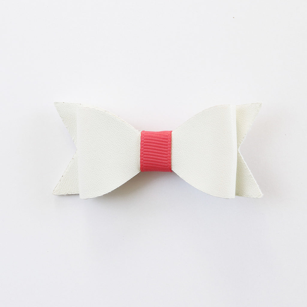 White Vinyl Leather Classic Lasercut Bow with Clip - Single Pack