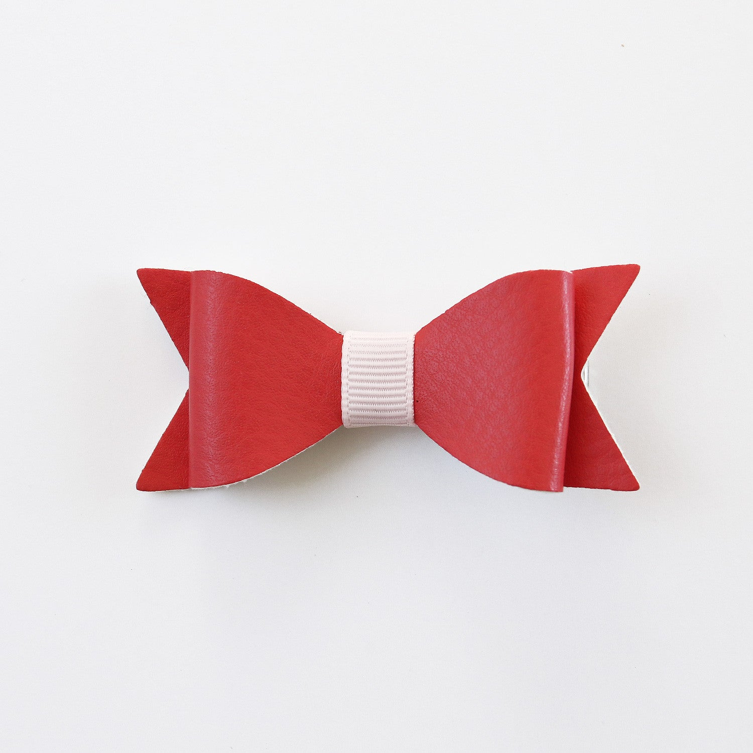 Red and Gold Vinyl Leather Classic Lasercut Bow with Clip - Single Pack