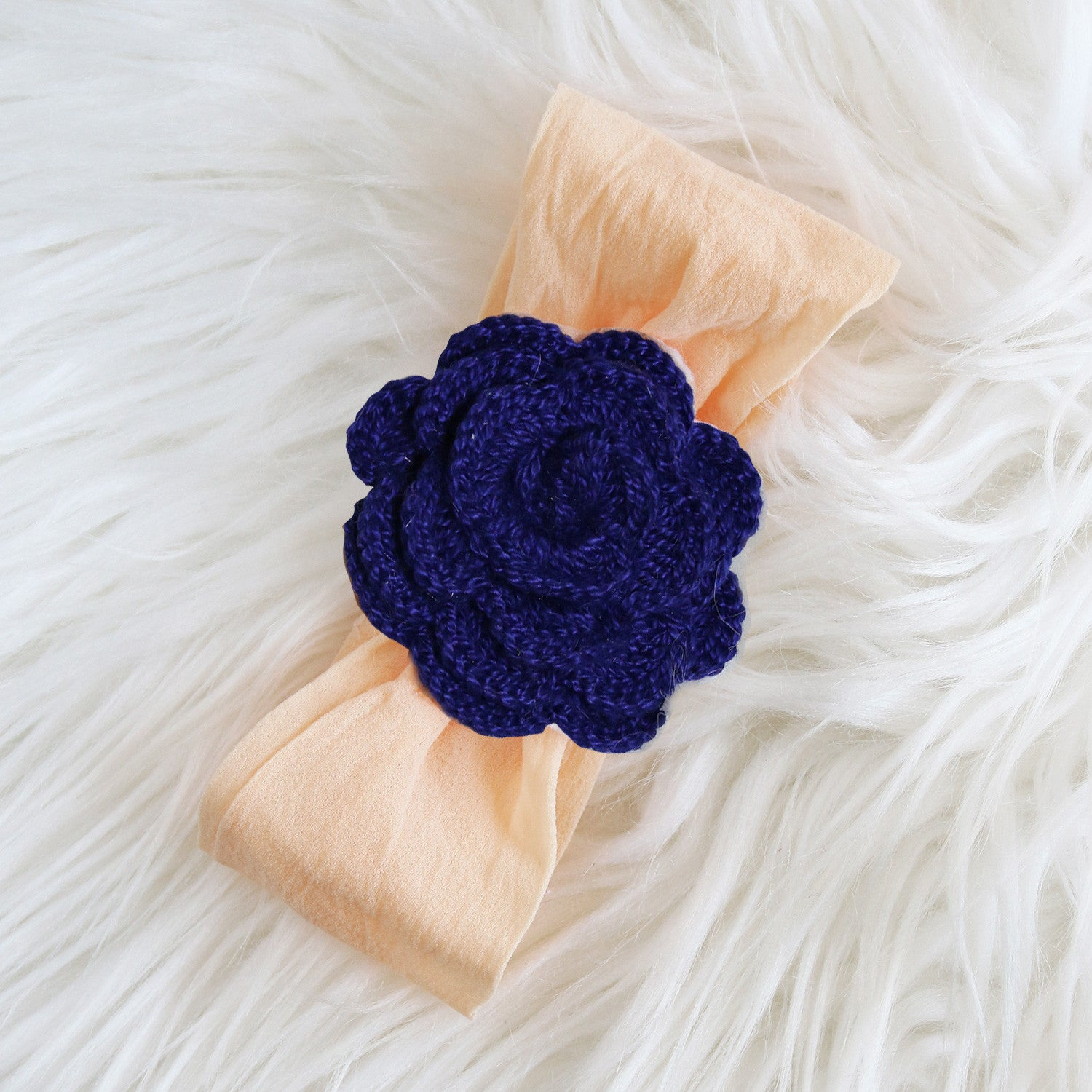 Large Crochet Flower - Peach Nylon Headband (Single pack)