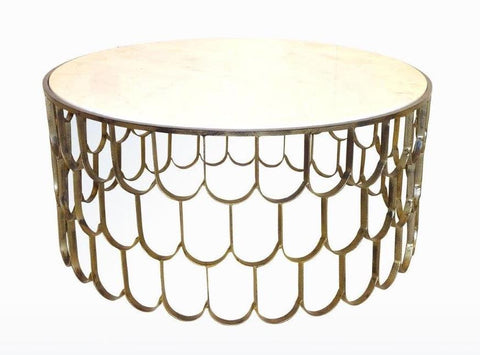 FISH SCALE COFFEE TABLE ANTIQUE GOLD
