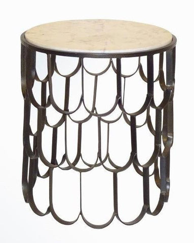FISH SCALE SIDE  TABLE DARK BRONZE