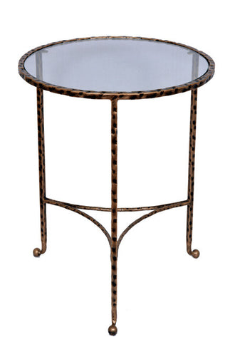 HAMMERED END TABLE - Antique Gold