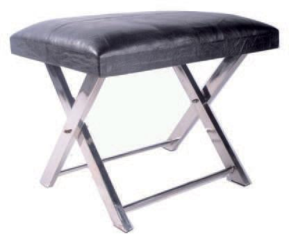 JENNA - Black Leather Stool (Four Panels)