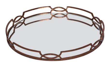 MIRROR TRAY - Copper Leaf