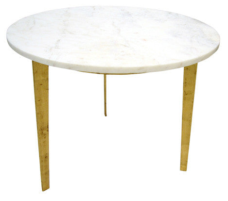 Oliver Round Marble Top Gold Leaf Metal Legs