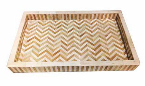 Rectangular Tray White & Natural Chevron