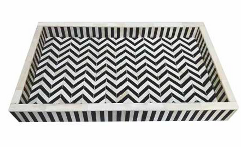 Rectangular Tray Black & White Chevron